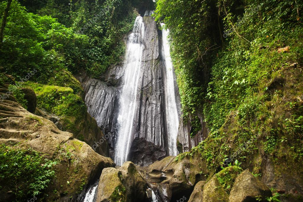 View of the waterfall in the tropics