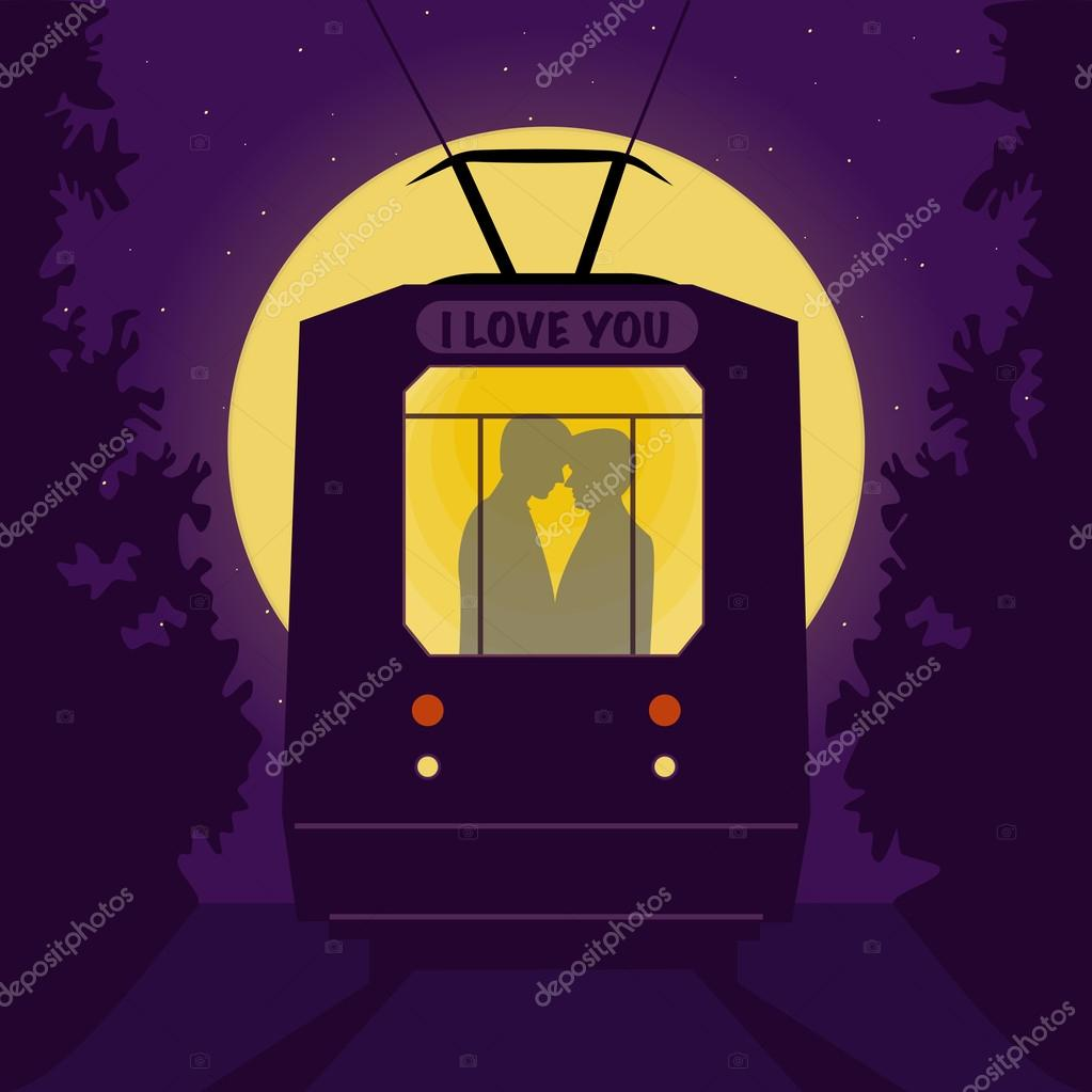 Gay couple in the tram at night. Romantic background - full moon