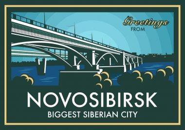 Vintage touristic greeting card - Novosibirsk, Russia