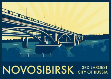 Vintage touristic greeting card - Novosibirsk, Russia.