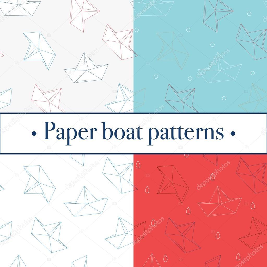 Cuatro de papel de origami barcos o naves de patrones. Tema mar ...