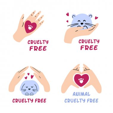 Pack of cruelty free badges. Hand drawn collection of animal testing ban labels. Not tested on animals, vegan cosmetic concept. Vector illustration icon