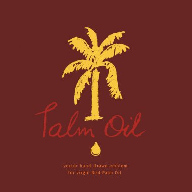Hand-drawn Palm tree illustration for Virgin Red Palm Oil and label natural organic cosmetics. Isolated vector logo template of Palm Oil with pastel textured effect. Golden droplet. Handwritten emblem icon