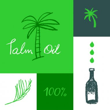 Drawn Palm tree illustration for Virgin Red Palm Oil and label natural organic cosmetics. Isolated vector logo template of Palm Oil with pastel textured effect. Green sign. Palm oil bottle. icon