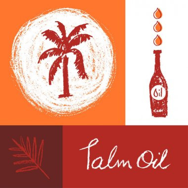 Drawn Palm tree illustration for Virgin Palm Oil and label natural organic cosmetics. Isolated vector logo template of Palm Oil with pastel textured effect. Vector sign of Red Palm oil bottle. icon