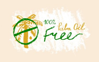 Palm oil free icon in trendy hand drawn style. Palm oil-free drawn isolated sign. Healthy lettering emblem of palm oil free. Black and white palm oil-free vector logo for Healthy food products. icon