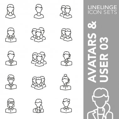 High quality thin line icons of people, humans and heads. Linelinge are the best pictogram pack unique linear design for all dimensions and devices. Stroke vector, logo, symbol and website content. clip art vector