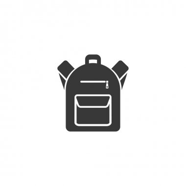 Backpack icon in flat style. Vector sign icon