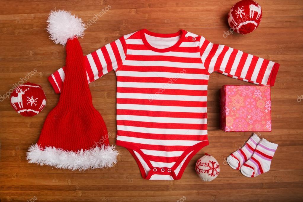 Weihnachten Baby Kleidung Mit Weihnachten Schmuck Auf Holzernen