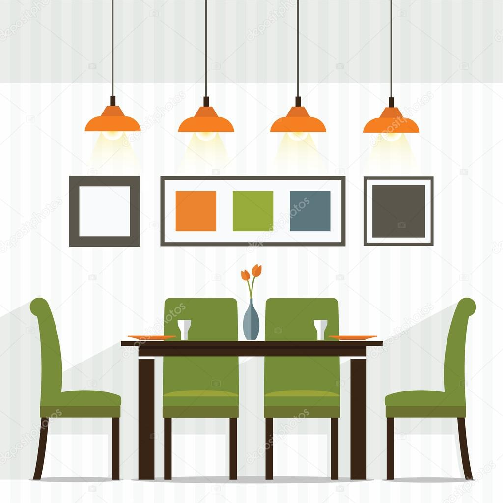 Dining Room Design Stock Vector 108798490