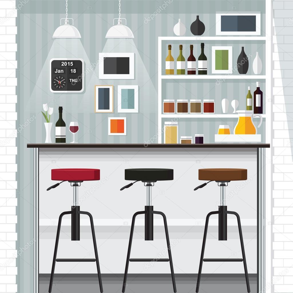 Moderne Wohnung Design-Küche-Bar — Stockvektor © puaypuayzaa #108799120