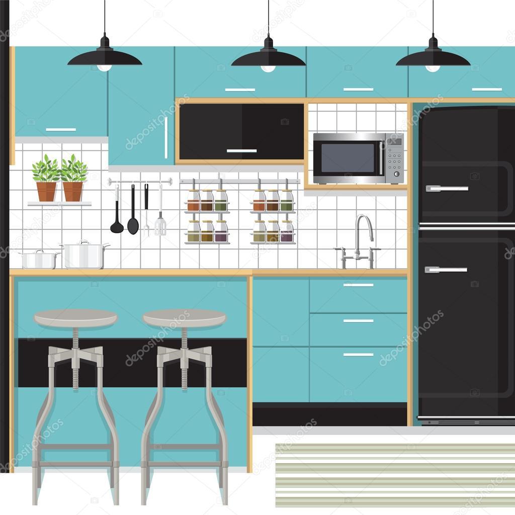 kitchen design vector — Stock Vector © puaypuayzaa #115264046