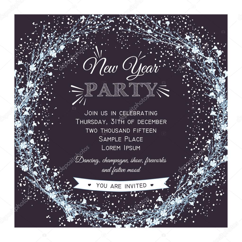 new year party invitation card stock vector