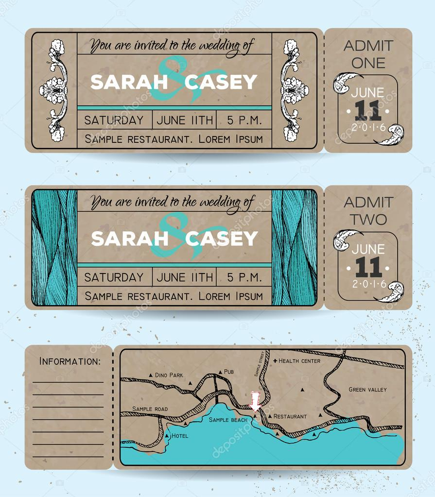 Marine wedding invitation set. Ticket to a sea party with road m ...