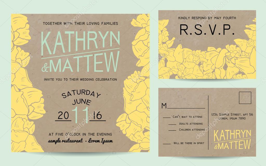 Convite De Casamento Elegante Conjunto Com Cartão De Rsvp Em Papel
