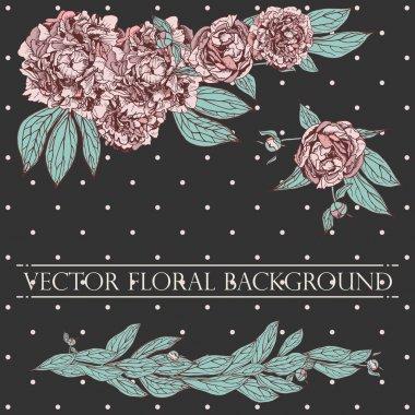 Vector floral composition. Vintage peony background. Floral elem