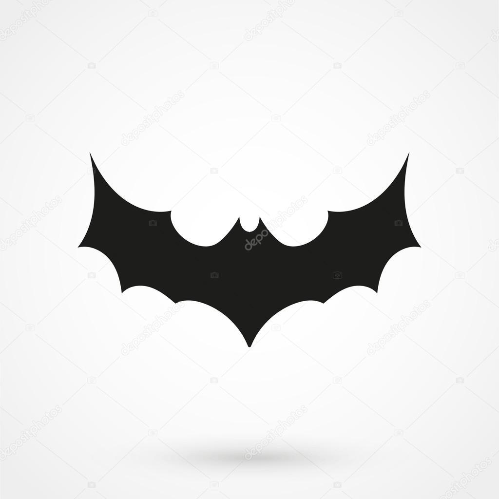 Fledermaus Symbol schwarz Vektor auf weißem Hintergrund ...