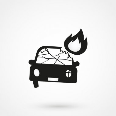 car crash icon black vector on white background