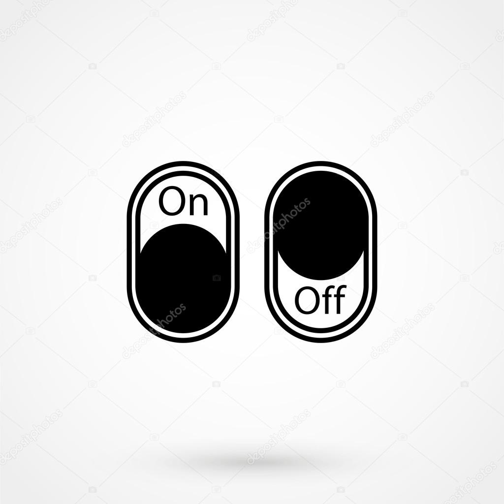 On,Off switch Icon on white background in flat style. Simple vector ...