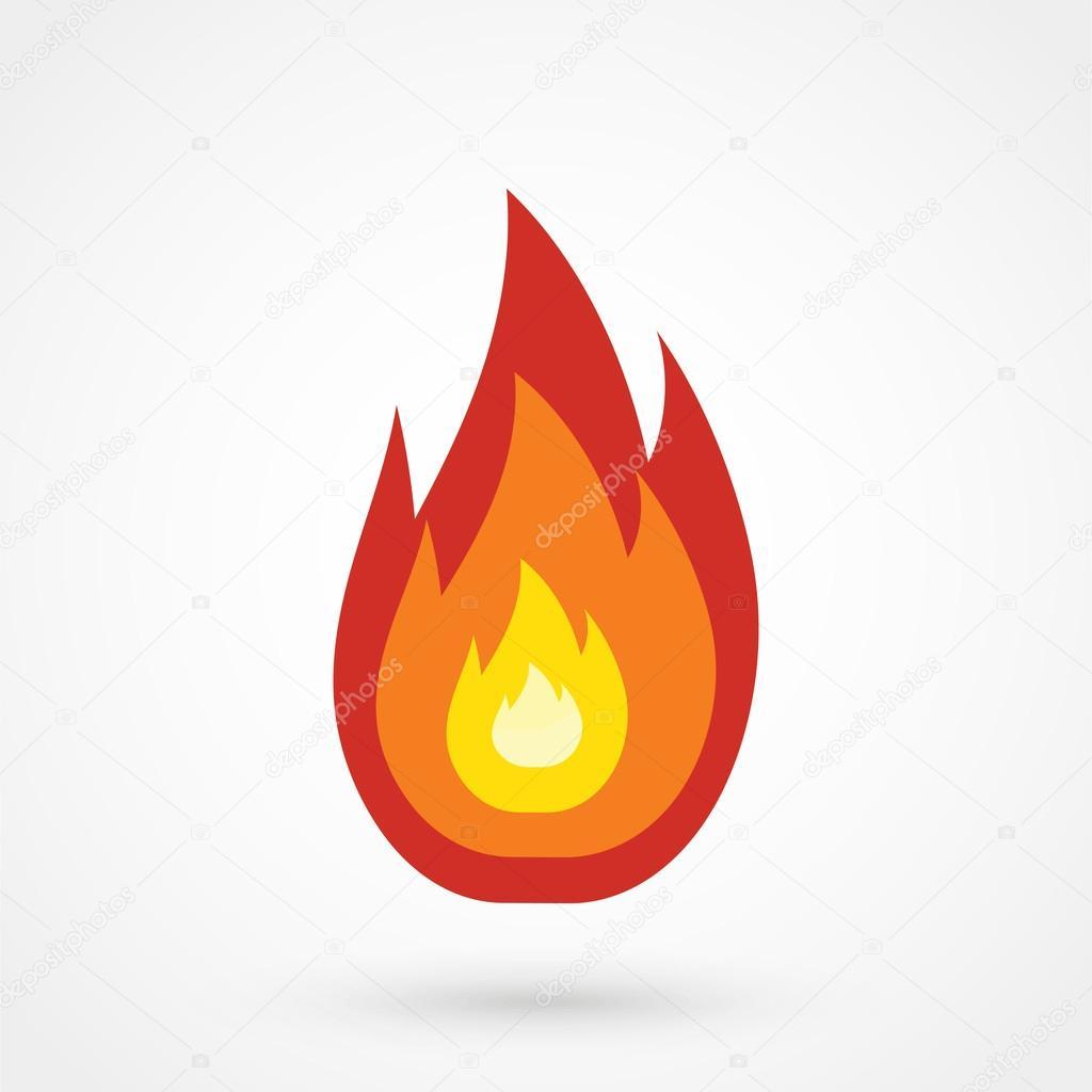Beyaz Zemin üzerine Kırmızı Ateş Simgesi Basit Vektör çizim Stok