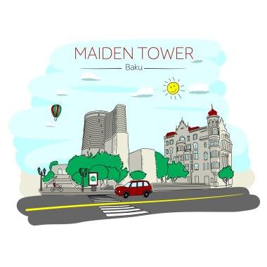 Maiden Tower Baku. Azerbaijan. Inner city.