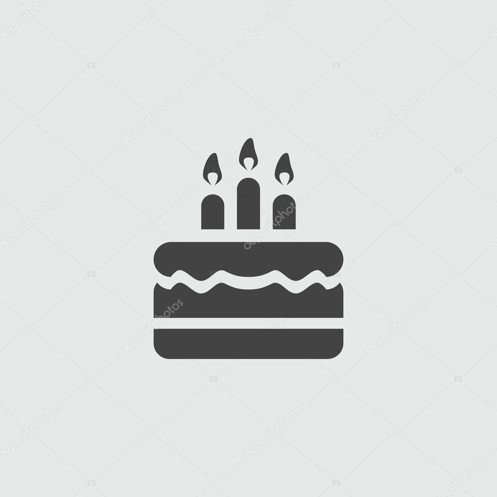 Birthday cake vector sign illustration icon Stock Vector