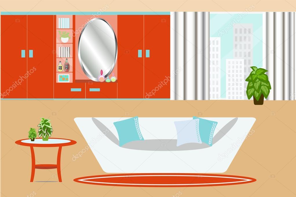 Kledingkast In Woonkamer.Woonkamer Interieur Vectorillustratie Kledingkast Venster Sofa