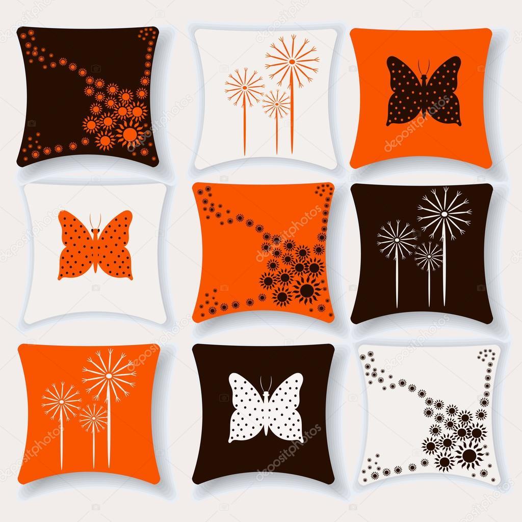 Set van kussens voor interieur vectorillustratie. Kussen geïsoleerd ...