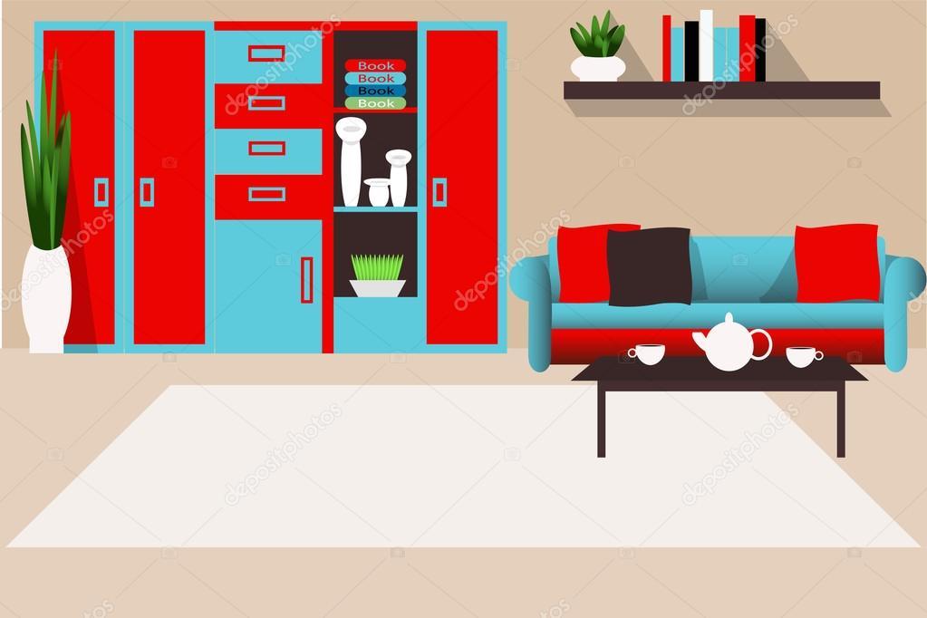 Sala de estar interior en la ilustración de vector de colores ...