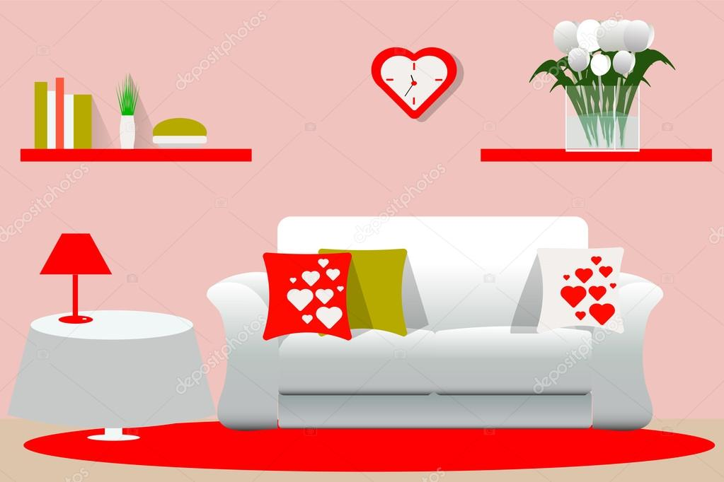 Living room interior vector illustration. Living room in the ...