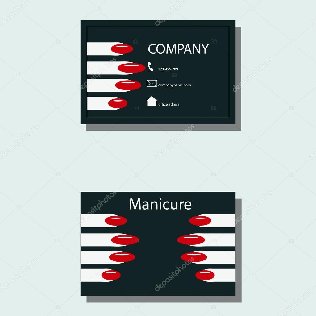 Carte De Visite Pour Une Manucure Coordonnees Services Cosmetiques Vector Illustration Vecteur Par