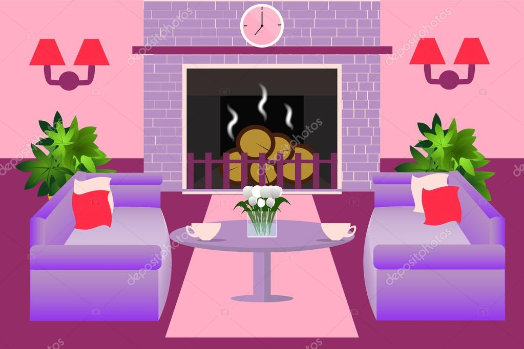 Modern living room interior. A fireplace, sofas, table, plants ...