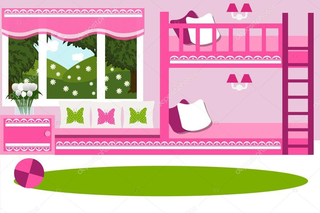 El interior de la habitaci n dormitorio para ni os for Dormitorio animado
