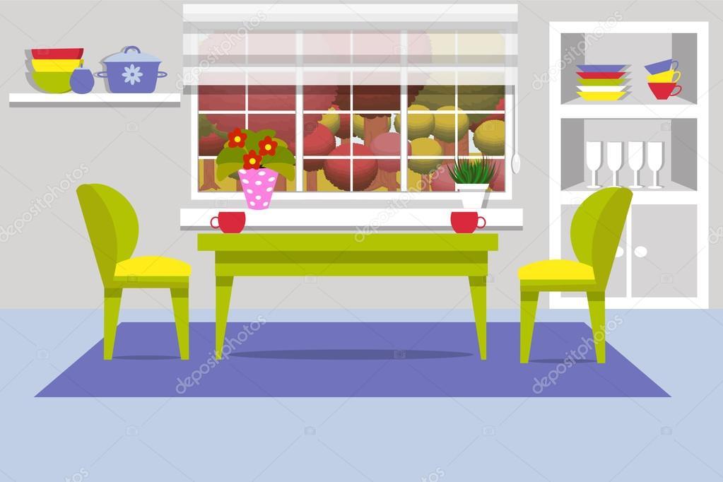 Cocina con muebles. Ventana, armario, mesa de la cocina acogedor ...