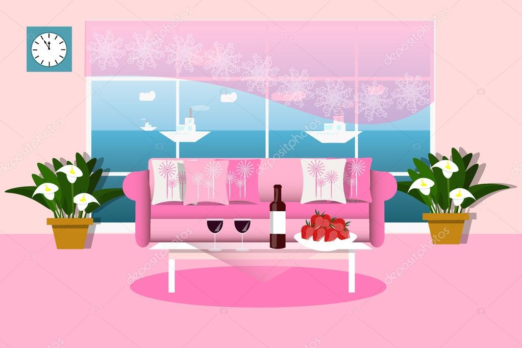 The interior of living room in pink color vector illustration ...