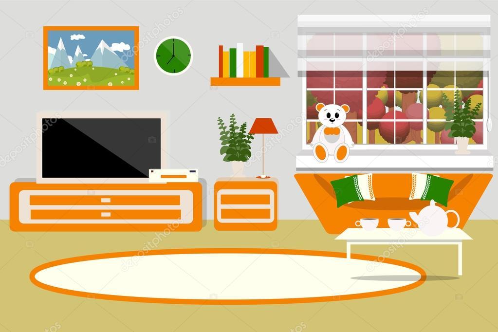 Ilustra o em vetor de interiores sala de estar mob lia for V a dundee living room