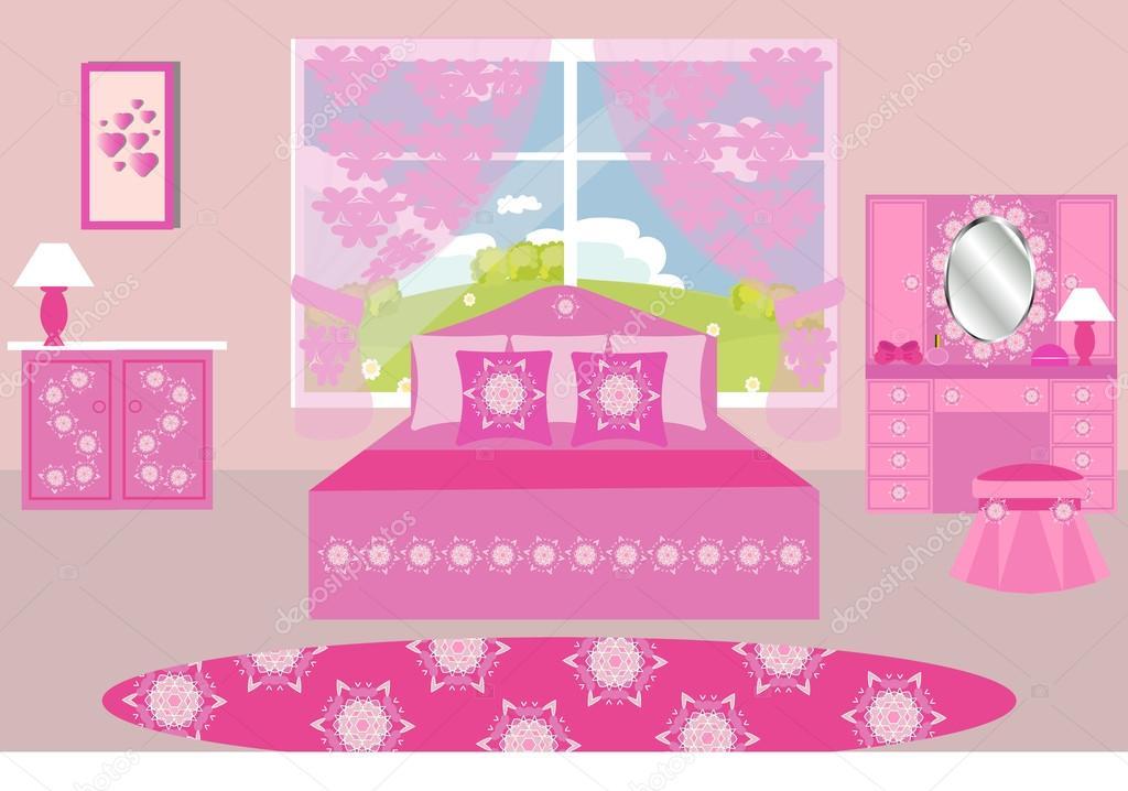Ilustraci n de vector interior del dormitorio dormitorio for Dormitorios para 4 ninas