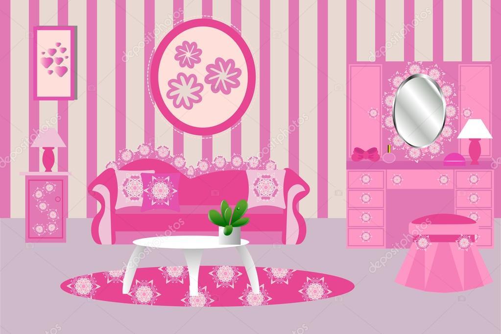 Woonkamer interieur vectorillustratie. Roze woonkamer — Stockvector ...
