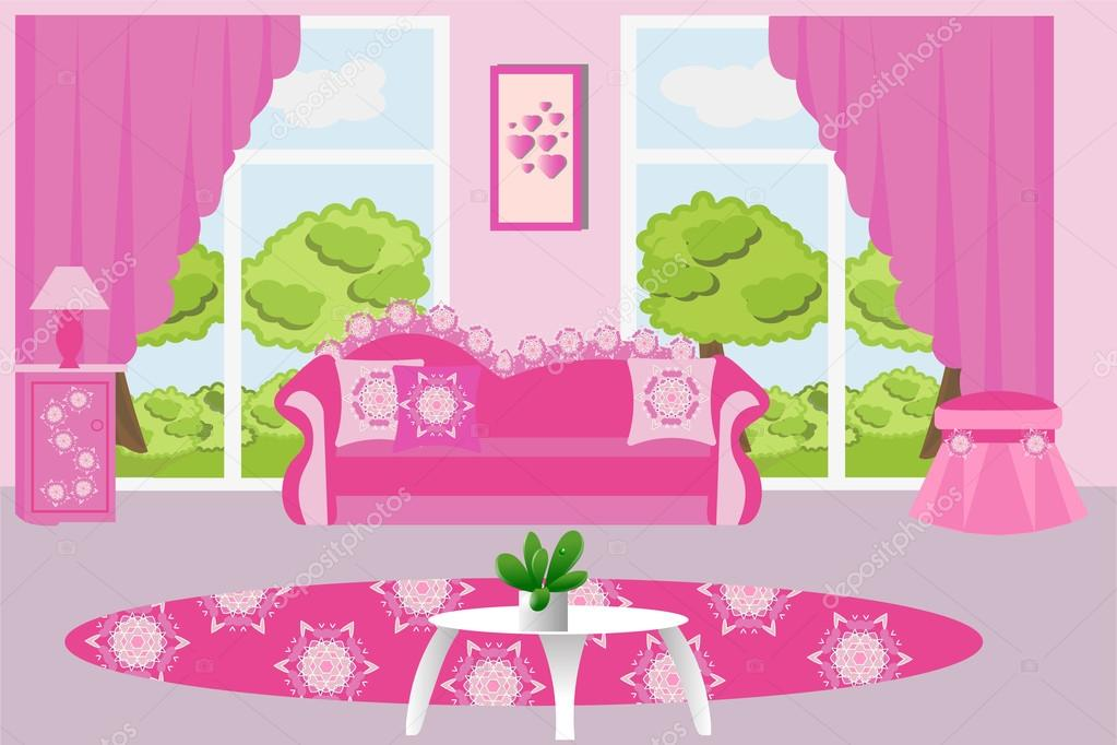 Living room interior vector illustration. Pink living room furniture ...