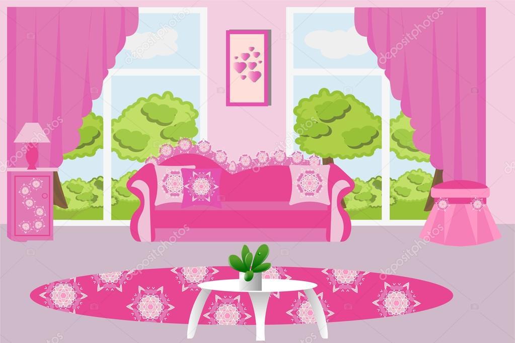 Woonkamer interieur vectorillustratie. Roze woonkamer meubels voor ...