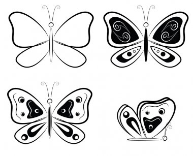 Four black and white butterfly silhouettes - vector illustration