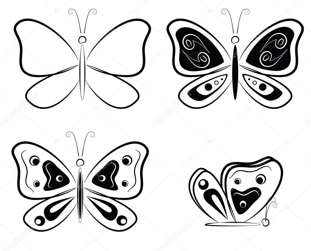 Vectores: Silueta De Mariposa En Blanco