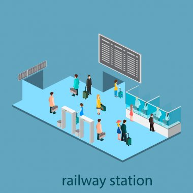 Isometric interior of railway station