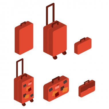 Travel suitcases. Isometric objects
