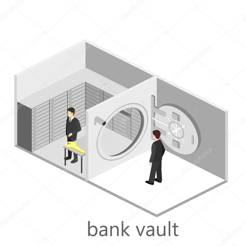 isometrische interieur van bank kluis stockvector