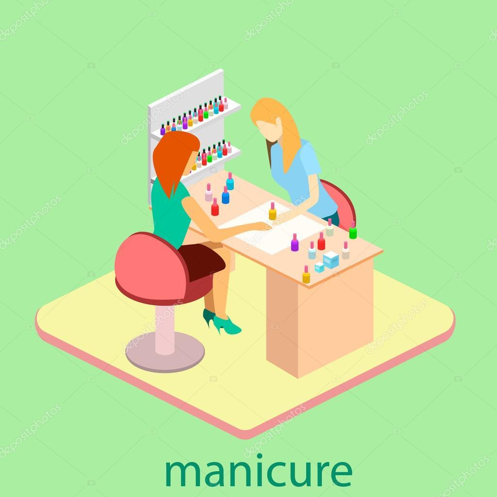 Isometric interior of nail salon — Stock Vector © reenya #109831170