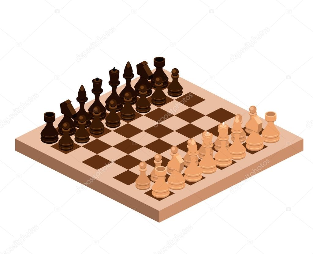 Isometric chess pieces with board