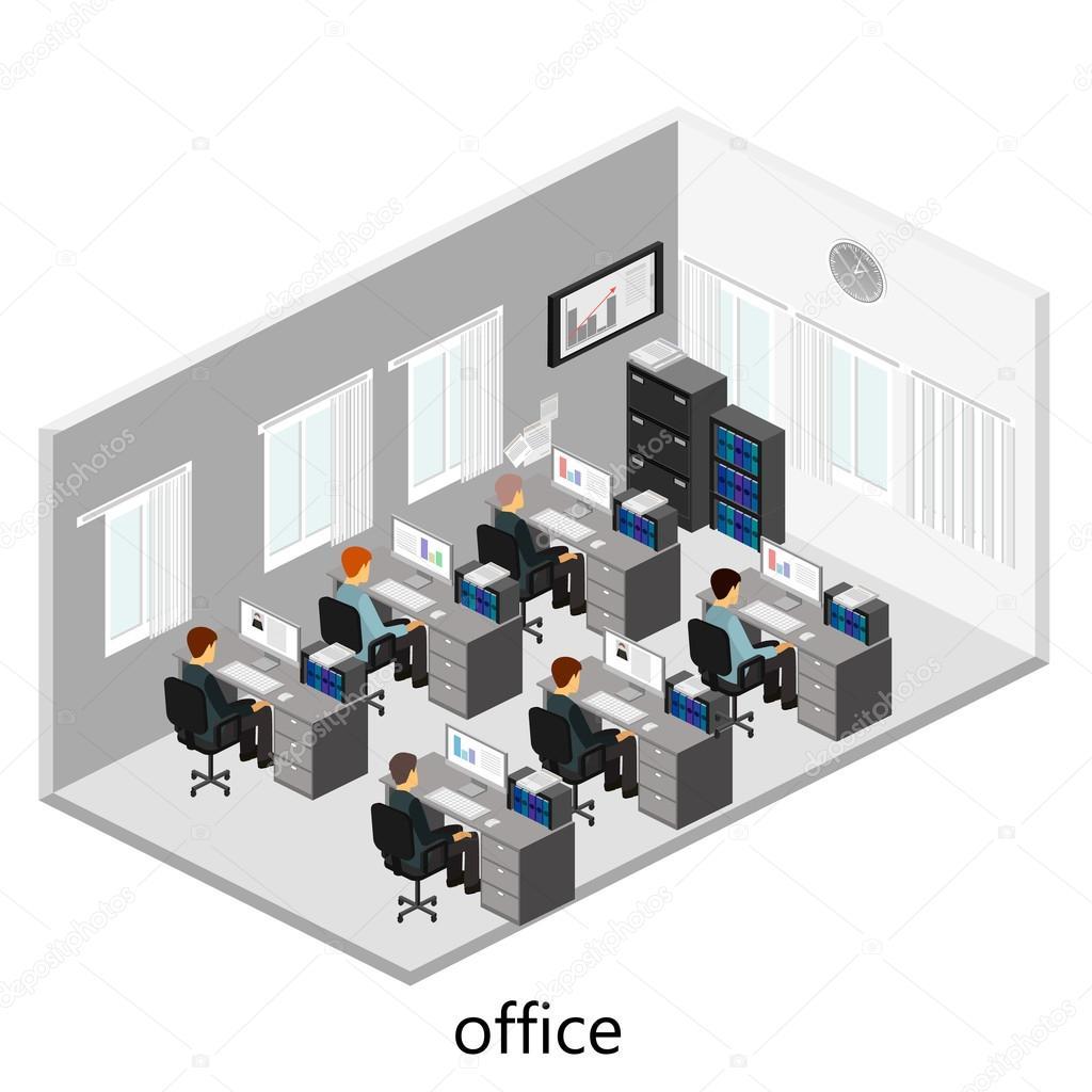 3d Isometric Office Interior Stock Vector 169 Reenya