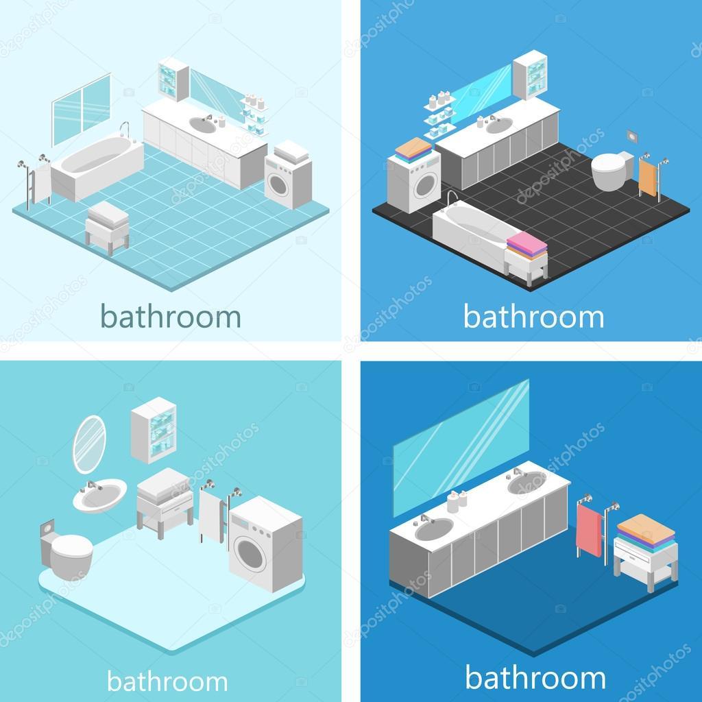 Isometric interior of bathroom