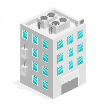 isometric facade of building